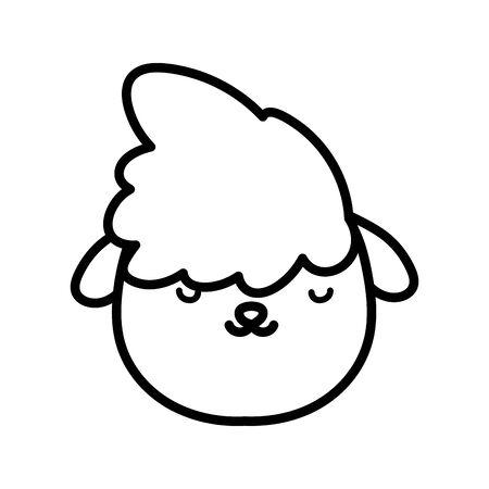 sheep head farm animal cartoon icon vector illustration thick line Çizim