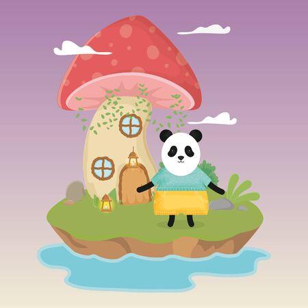 cute panda with skirt lamp and mushroom house fantasy fairy tale