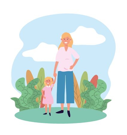 happy woman mother with her cute daughter and plants Illustration