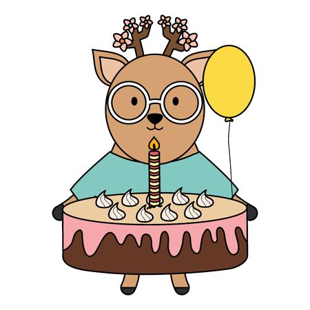 cute reindeer with sweet cake in party celebration Stok Fotoğraf - 133703155