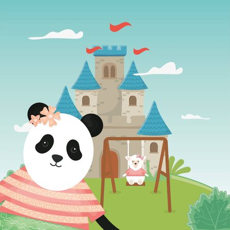 female panda and sheep on the swing and fantasy fairy tale castle