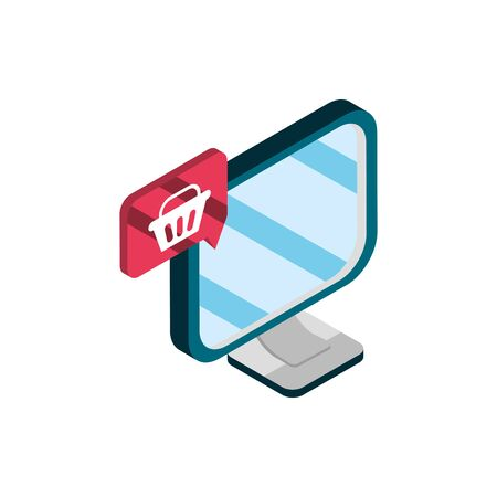 computer basket online shopping isometric icon Иллюстрация