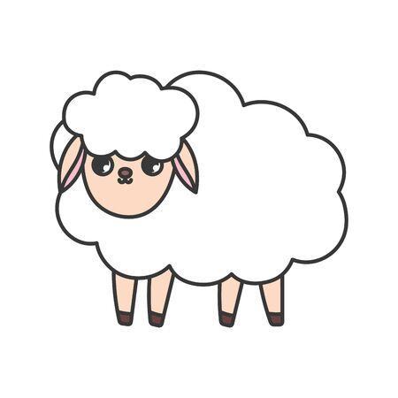 sheep animal cartoon on white background Foto de archivo - 133702807