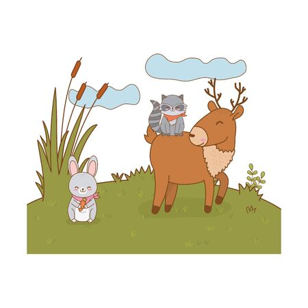 cute animals in the field woodland characters