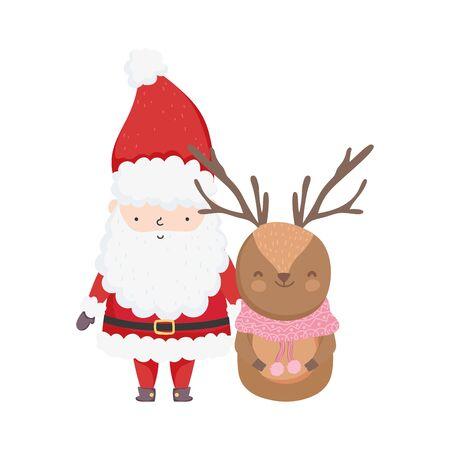 merry christmas celebration santa claus deer with scarf Archivio Fotografico - 133703069