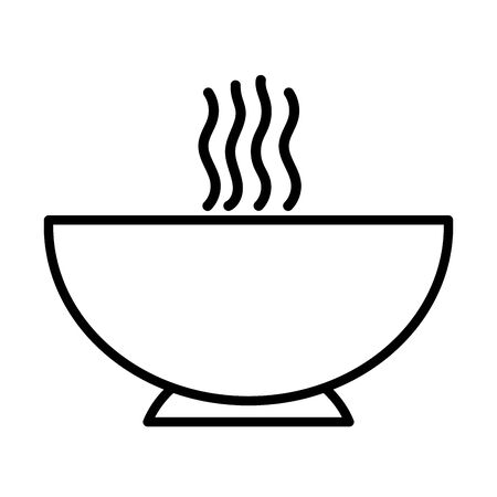 hot soup bowl food on white background thick line