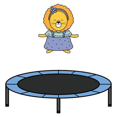 cute female lioness in elastic trampoline