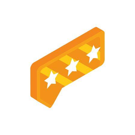 rating stars talk bubble social media isometric icon
