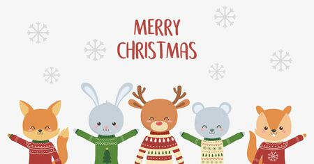 merry christmas celebration cute animals with ugly sweater snowflakes