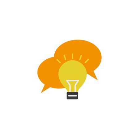 bulb message idea icon flat style
