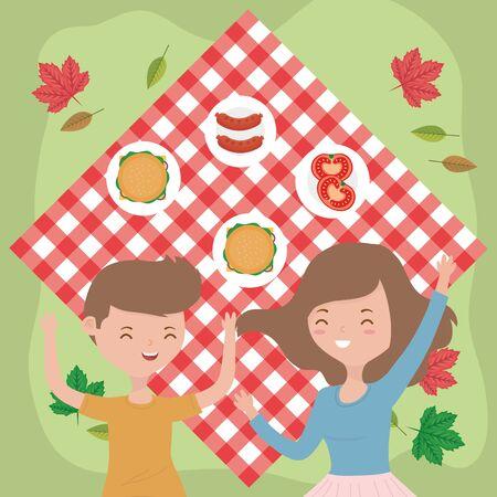 happy couple on blanket grass picnic nature Illusztráció