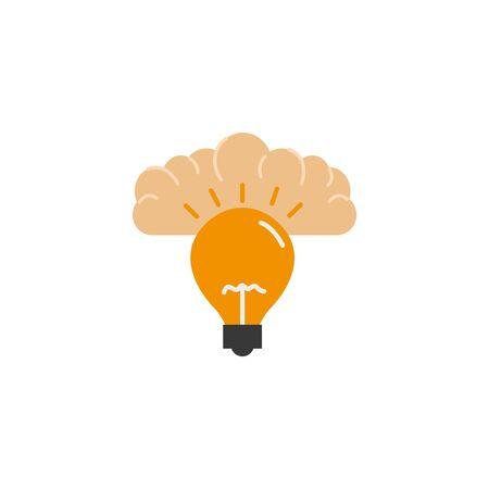human brain bulb invention idea icon flat style