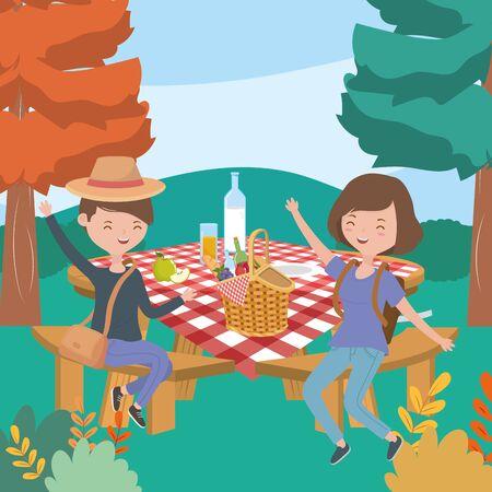 happy man and woman with table food picnic nature landscape Illusztráció