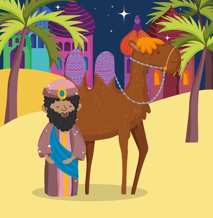 wise king and camel desert manger nativity, merry christmas vector illustration 스톡 콘텐츠 - 133721870