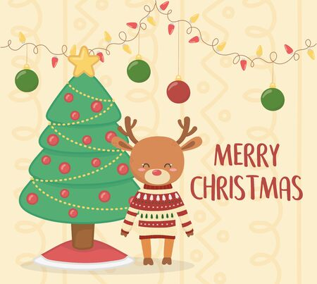 merry christmas celebration cute reindeer with sweater and tree decoration