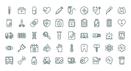 healthcare equipment medical icons set line fill vector illustration