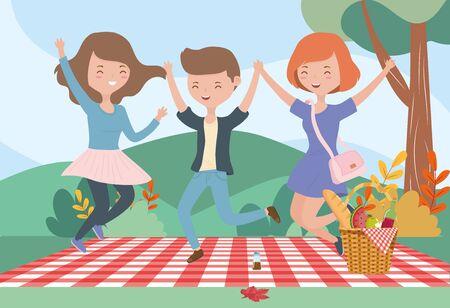 women and man blanket meadow picnic outdoors vector illustration Illusztráció