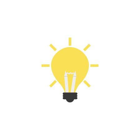 bright light bulb idea icon flat style illustration Ilustração