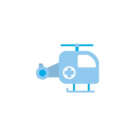Medical ambulance helicopter flat design