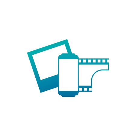 Isolated camera picture and roll icon gradient design