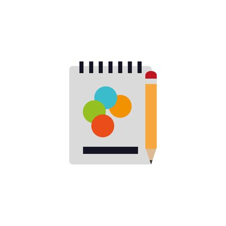 Isolated paint notebook and pencil flat design
