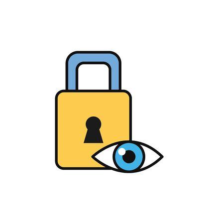 eye padlock security internet flat line style