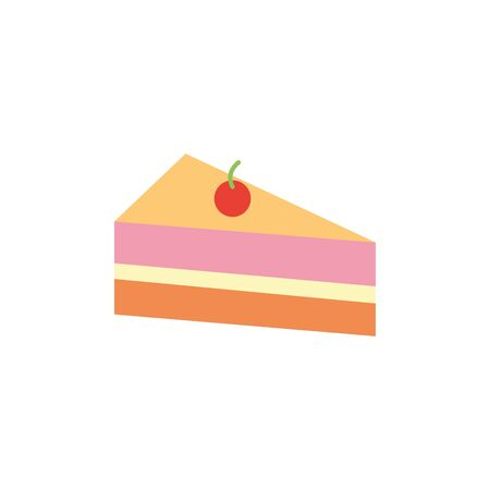 Isolated sweet cake icon flat design Çizim