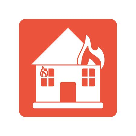 house burning with fire flames block line style icon