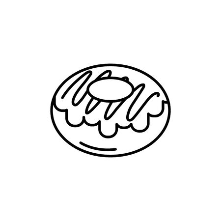 Isolated sweet donut icon line design