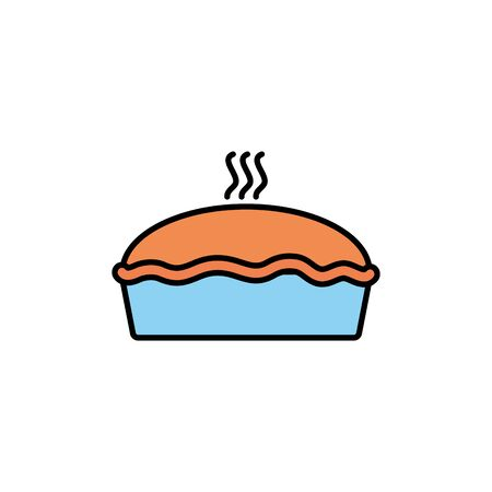 Isolated sweet cake icon fill design Çizim