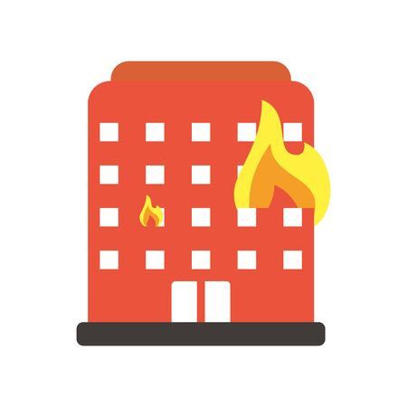 building burning with fire flames flat style icon