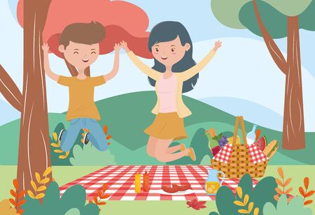smiling woman and man basket food picnic nature landscape Illusztráció