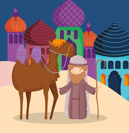 joseph with camel in the village manger nativity, merry christmas