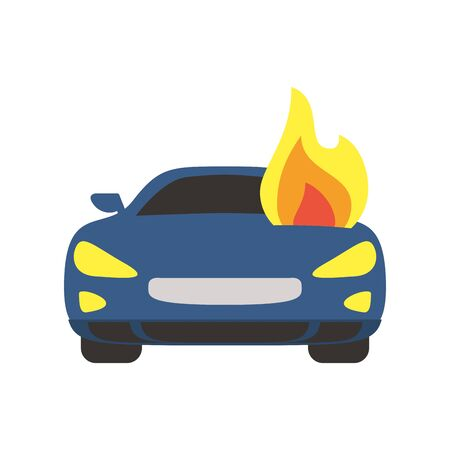 car burning with fire flames flat style icon
