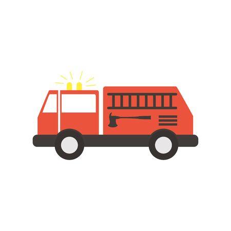 fire truck flat style icon Illustration