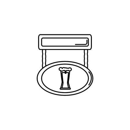 Isolated beer label icon line design