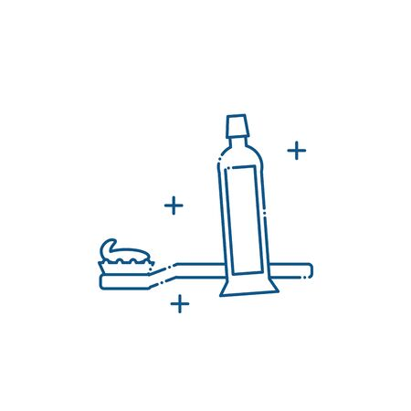 Isolated toothpaste and brush icon line design