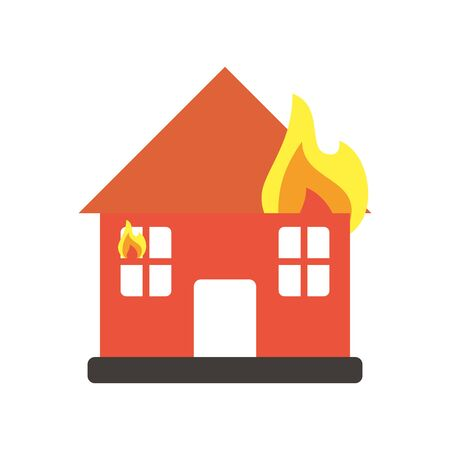 house burning with fire flames flat style icon