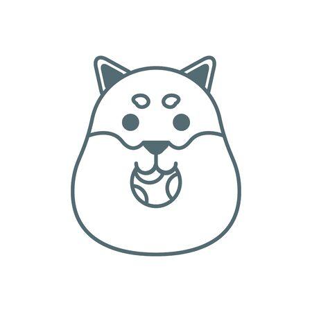 cute little dog bulldog head with ball line style icon