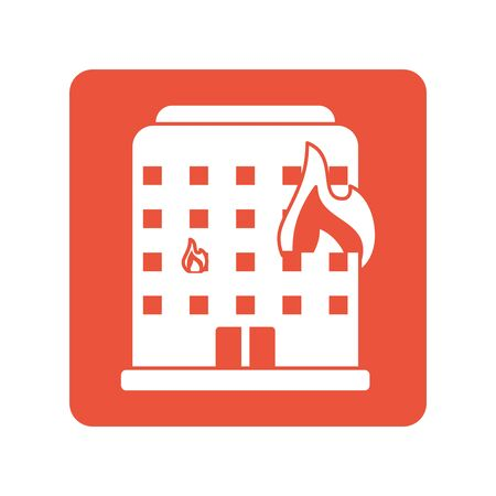 building burning with fire flames block line style icon