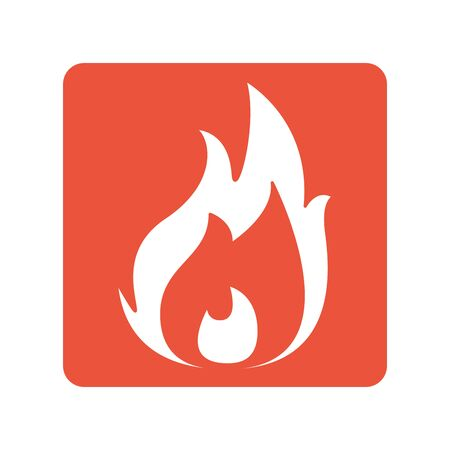fire flame block line style icon Stock Vector - 133723152
