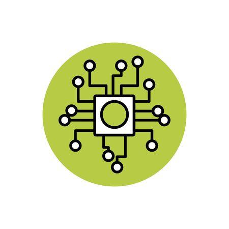 Digital motherboard icon block design
