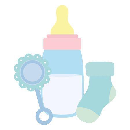 baby bottle milk with maraca and sock