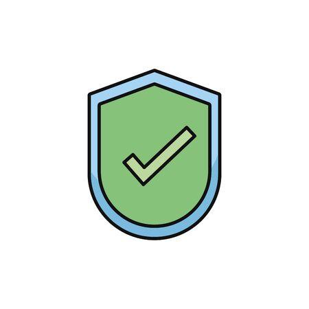shield protection check mark internet flat line style Illustration