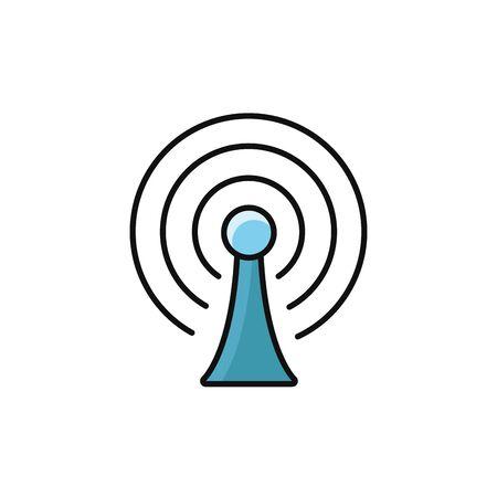 antenna signal internet flat line style Illusztráció