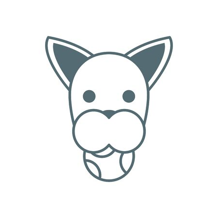cute little dog boxer head with ball line style icon