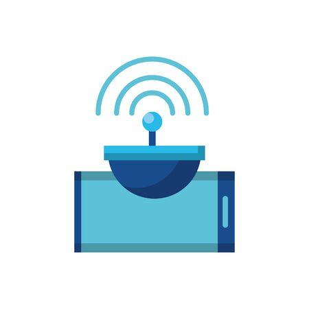 Digital smartphone and antenna icon flat design