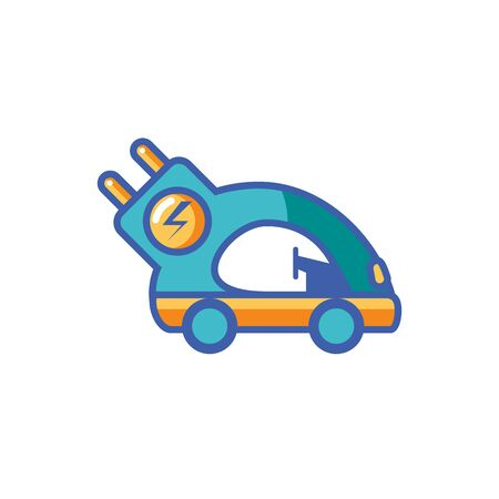Isolated eco car icon fill design
