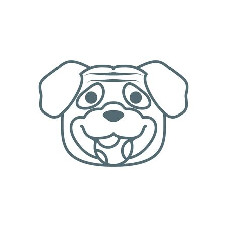 cute little pug dog head with ball line style icon vector illustration design 矢量图像