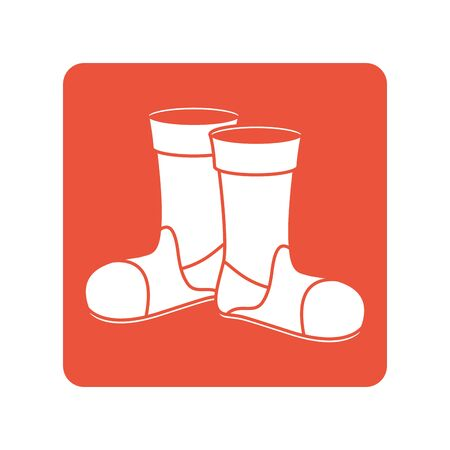 firefighter boots block line style icon vector illustration design